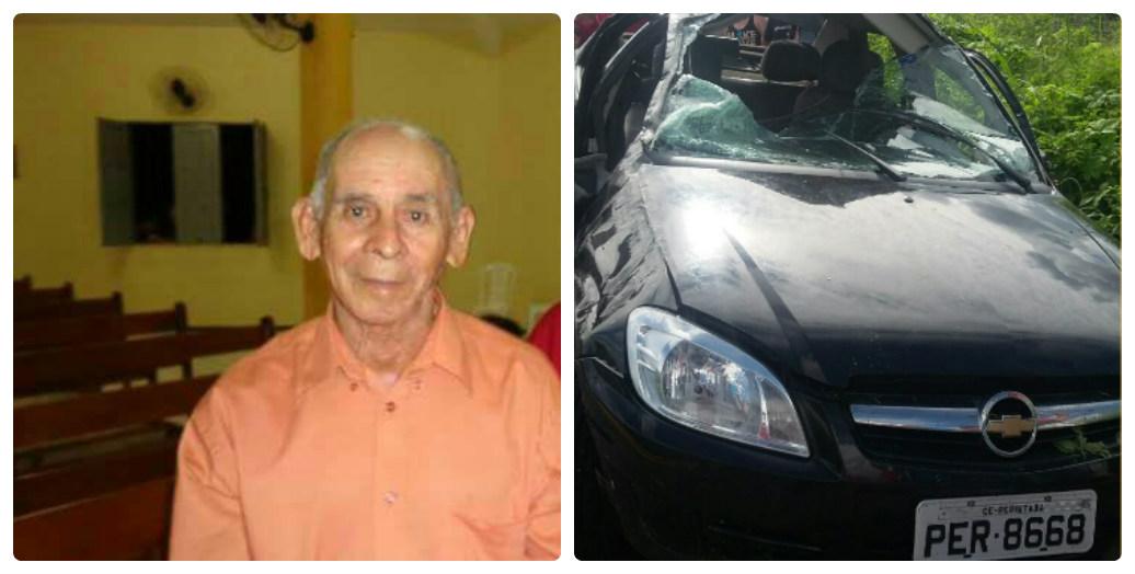 Carro capota e idoso morre