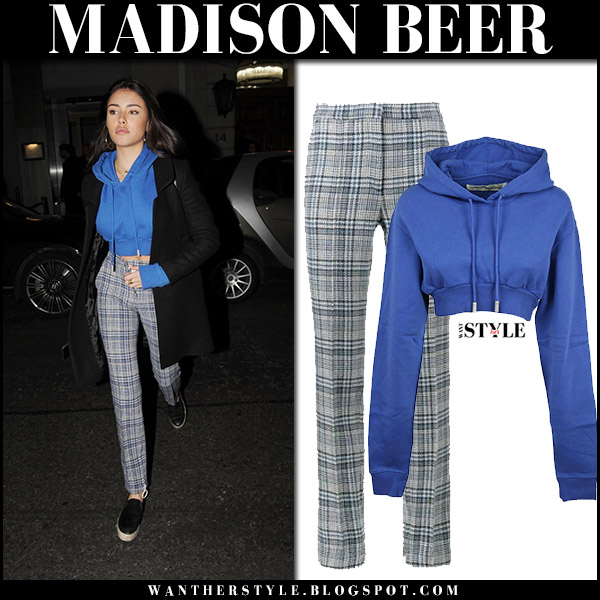 Madison Beer in blue cropped hoodie and grey plaid pants off-white street style celebrity november 8 2017