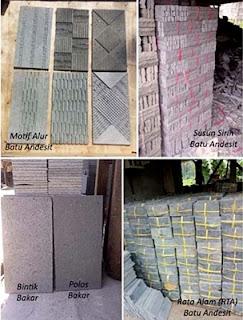 Contoh Gambar Batu Alam Andesit Motif Alur, Susun Sirih, Bintik Bakar, Polos Bakar & Rata Alam (RTA) untuk Templek Dinding Rumah