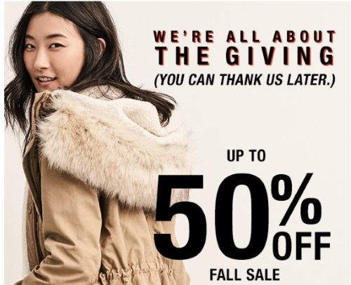 Gap Thanksgiving Sale Up To 50% Off + 35% Off Promo Code