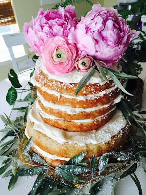 naked banana cake, unfrosted cake with flowers, bridal shower peach pink and navy