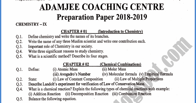 Adamjee Coaching: Chemistry 9th - Adamjee Coaching Guess Paper 2019