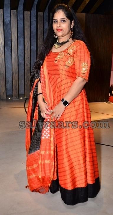 Orange Stripes Floor Length Salwar
