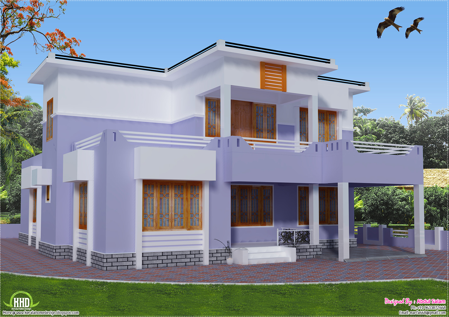 2419 sq.feet flat roof house design