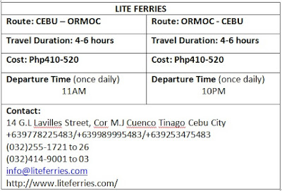Lite Ferries Schedule fare rates duration cost cebu ormoc