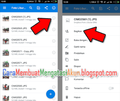 cara share file di dropbox