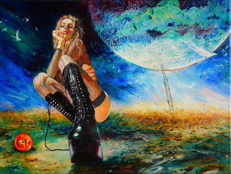Linda chica de cabello azul dandose sentones frente al espejo - 5 5