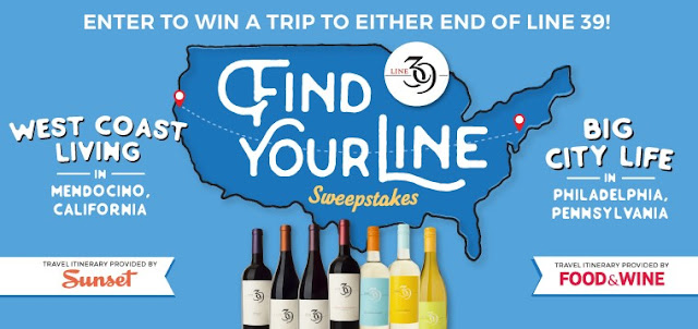 Line 39 Wines wants you to enter once for your chance to win a trip to your choice of either end of Line 39, Mendocino, California or Philadelphia, Pennsylvania!