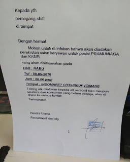 Lowongan Kerja Indomaret Citeureup Cimahi Terbaru 2019