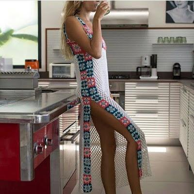 sukienka z kwadratami szydełkiem