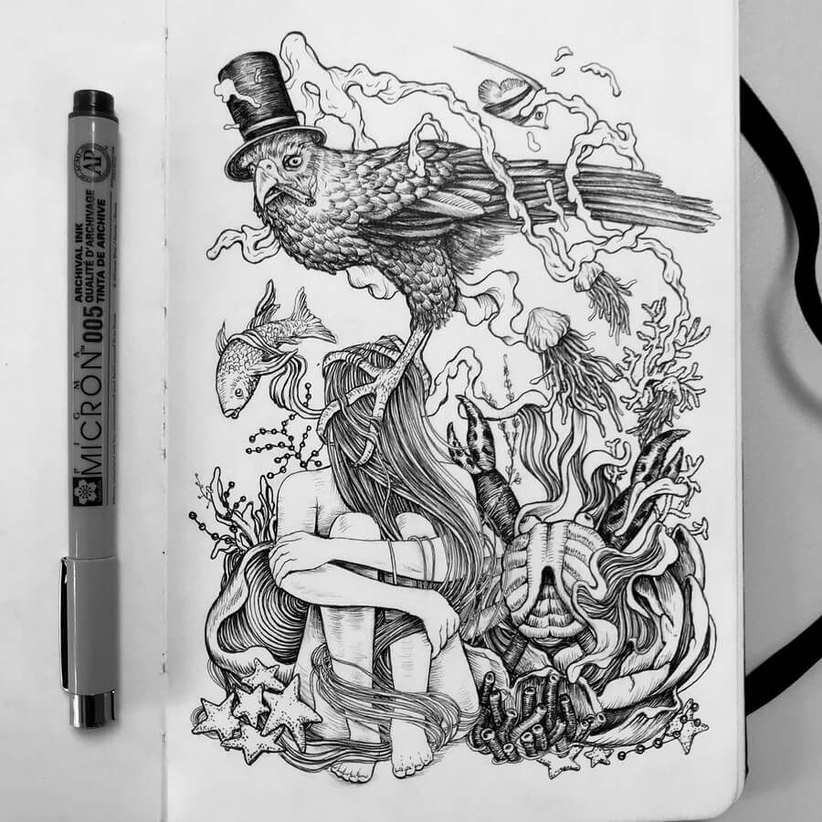 10-Surreal-Bird-with-a-Top-Hat-Tim-Ingle-Nature-Drawings-www-designstack-co