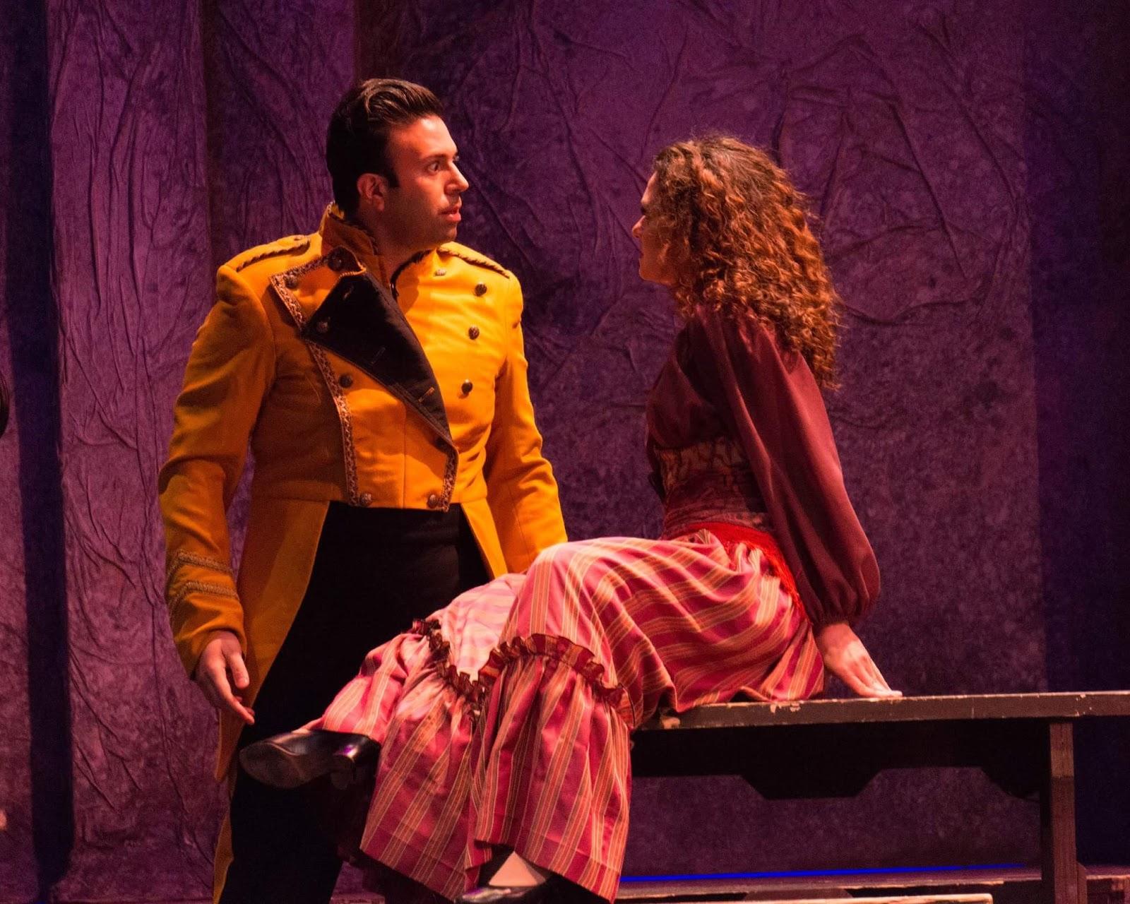 IN PERFORMANCE: Mezzo-soprano SANDRA PIQUES EDDY as Carmen (right) and tenor DINYAR VANIA as Don José (left) in Greensboro Opera's production of Georges Bizet's CARMEN, January 2017 [Photo © by Greensboro Opera]