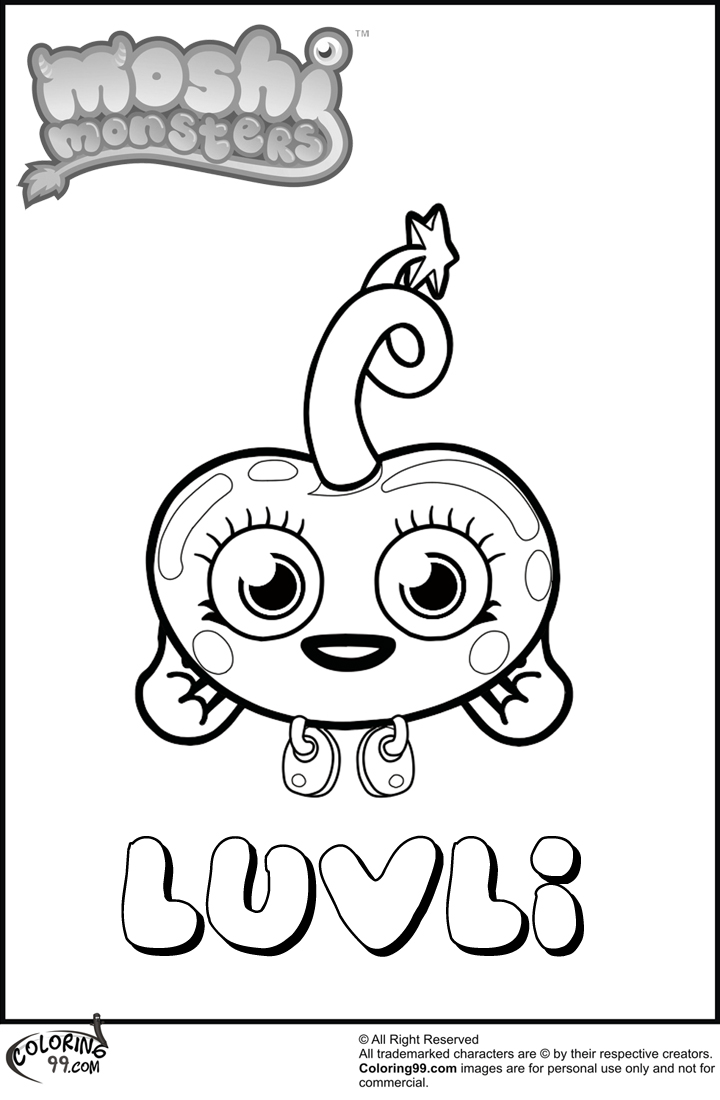 Blingo moshi 3d coloring book coloring pages for Moshi monsters coloring pages