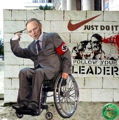 Satirische Politikbilder aus Griechenland - Schäuble witzig