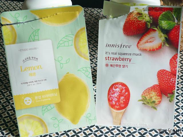 Masques coton asiatique Etude House et Innisfree