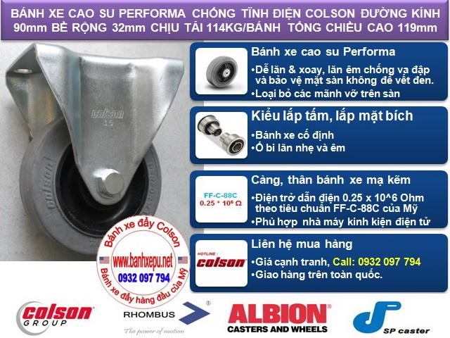 Bánh xe đẩy kháng tĩnh điện Colson càng cố định phi 90 | 2-3608-445C www.banhxeday.xyz