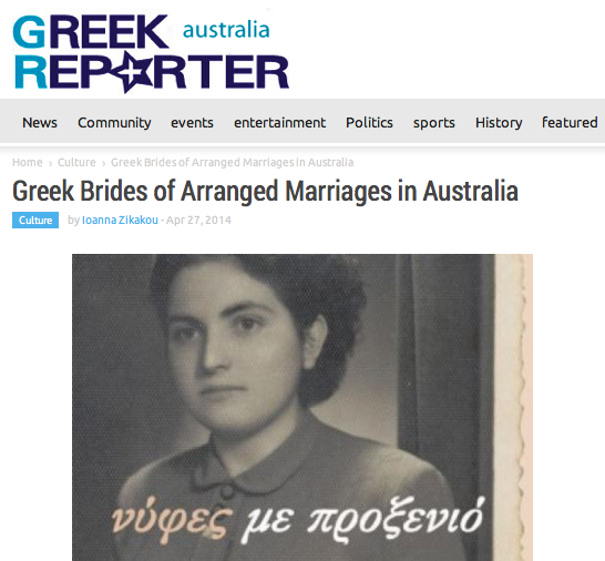 Greek Brides of Arranged Marriages in Australia