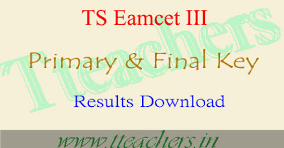 TS Eamcet 3 primary final Key download & Results Telangana