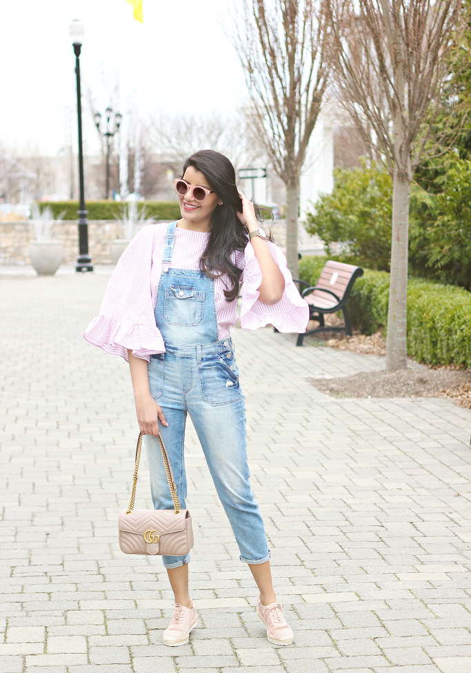 How To Wear Denim Overall After 30, How To Wear Denim Overall After 40, Denim Overall Styling, Marc Fisher Espadrille Sneakers, Gucci Marmont Small Flap Bag Antique Rose
