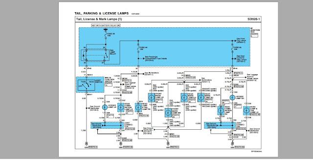 Sơ đồ mạch điện tail,đèn đỗ,đèn biển số của động cơ Hyundai D6CC