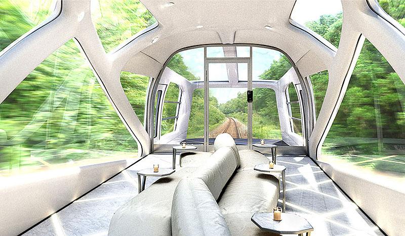 Обзорный вагон в поезде | Японский поезд Shiki-Shima