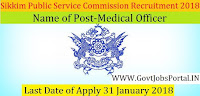 Sikkim Public Service Commission Recruitment 2018 – 47 Medical Officer