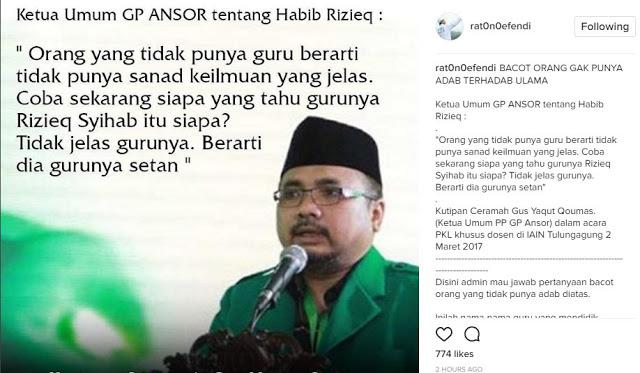 Ketum GP Ansor Sebut Habib Rizieq Gurunya Setan Muslimina