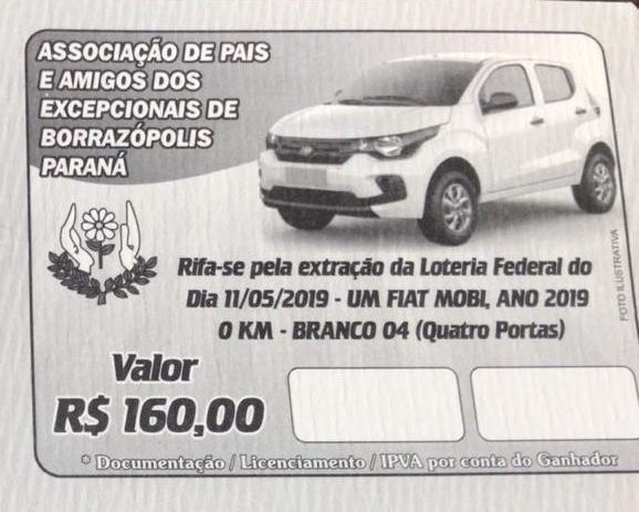 Borrazópolis-Rifas do sorteio do Carro da APAE já estão a venda