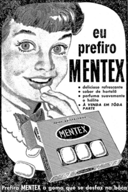 Propaganda da goma de mascar Mentex apresentada no final dos anos 50