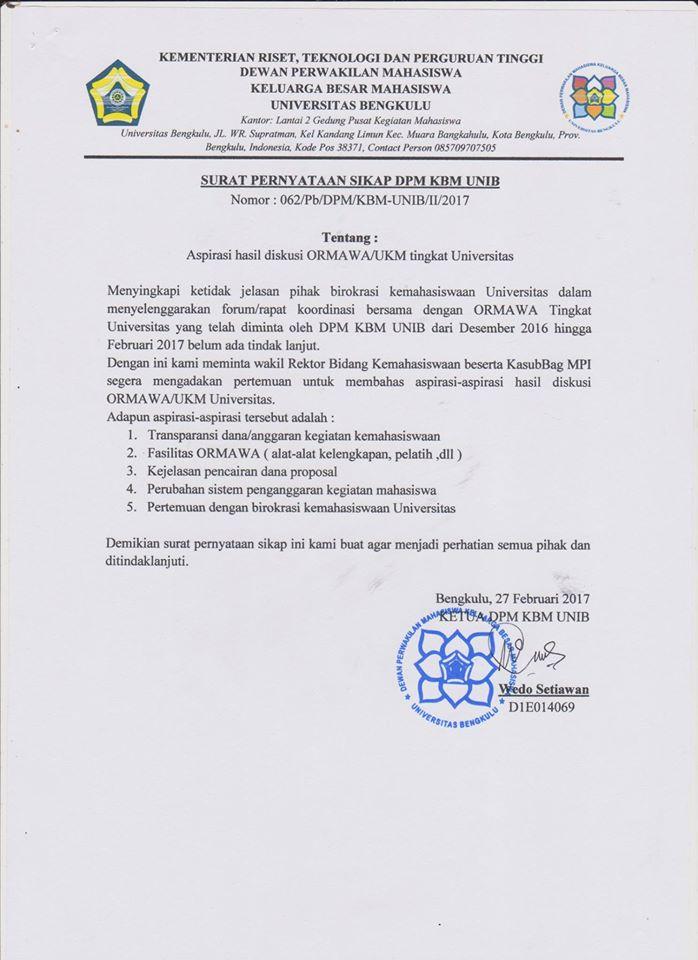 Keluarkan Surat Pernyataan Sikap Dpm Kbm Unib Meminta
