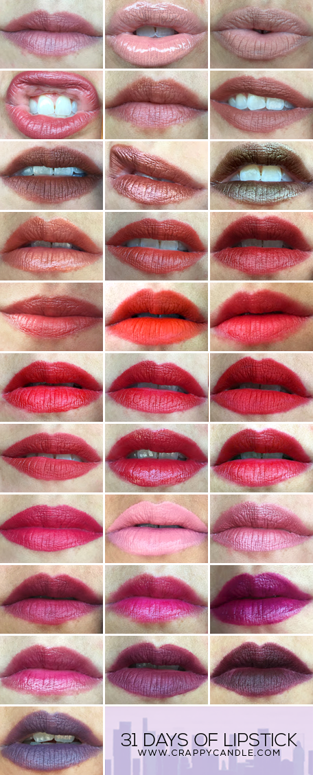 31 Days of Lipstick MEGA SWATCH | Nude, Brown, Orange, Red, Pink, & Purple Lipstick