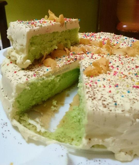 Kek Span Pandan Moist Cream Cheese Sukatan Cawan