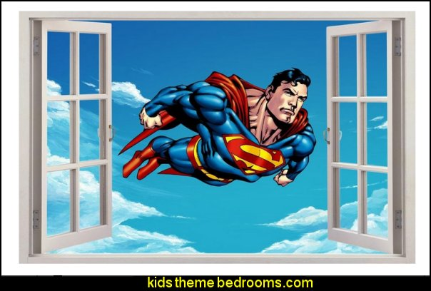 SUPERMAN 3D Window View Decal Graphic WALL STICKER Art Mural Man Of Steel