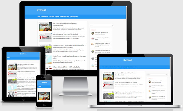 Overload Material Responsive Blogger Templates