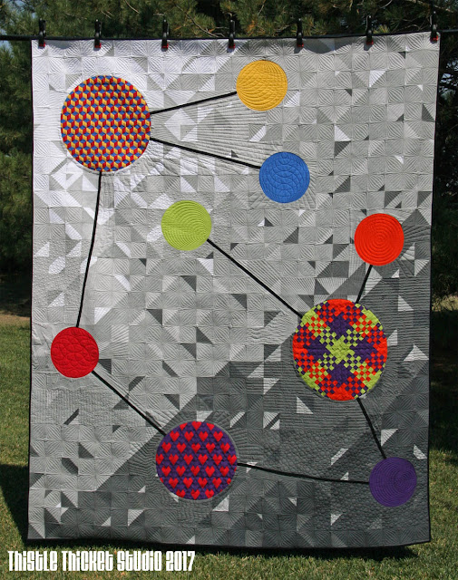 """Molecules of Moda: Bella Solids"" Quilt Designed, Pieced & Quilted by Thistle Thicket Studio. www.thistlethicketstudio.com"