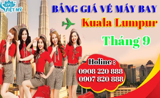 Bảng giá vé máy bay đi Kuala Lumpur tháng 9