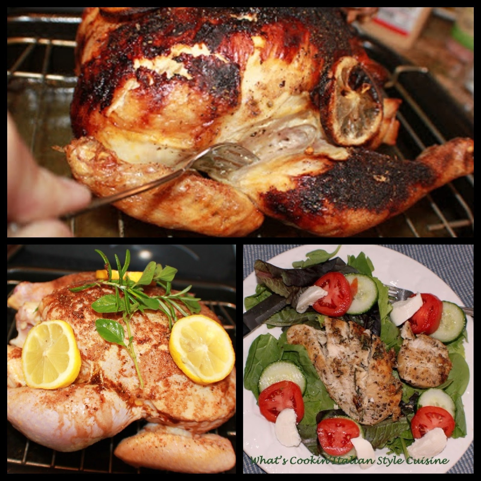 Lemon and Herb chicken is a juicy chicken filled with lemon and herbs flavors in a roasting pan with fresh lemon on it and fork tender