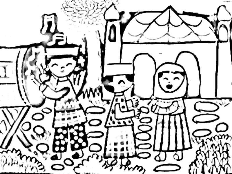 Hari Raya Aidilfitri Kad Colouring Pages Page 2