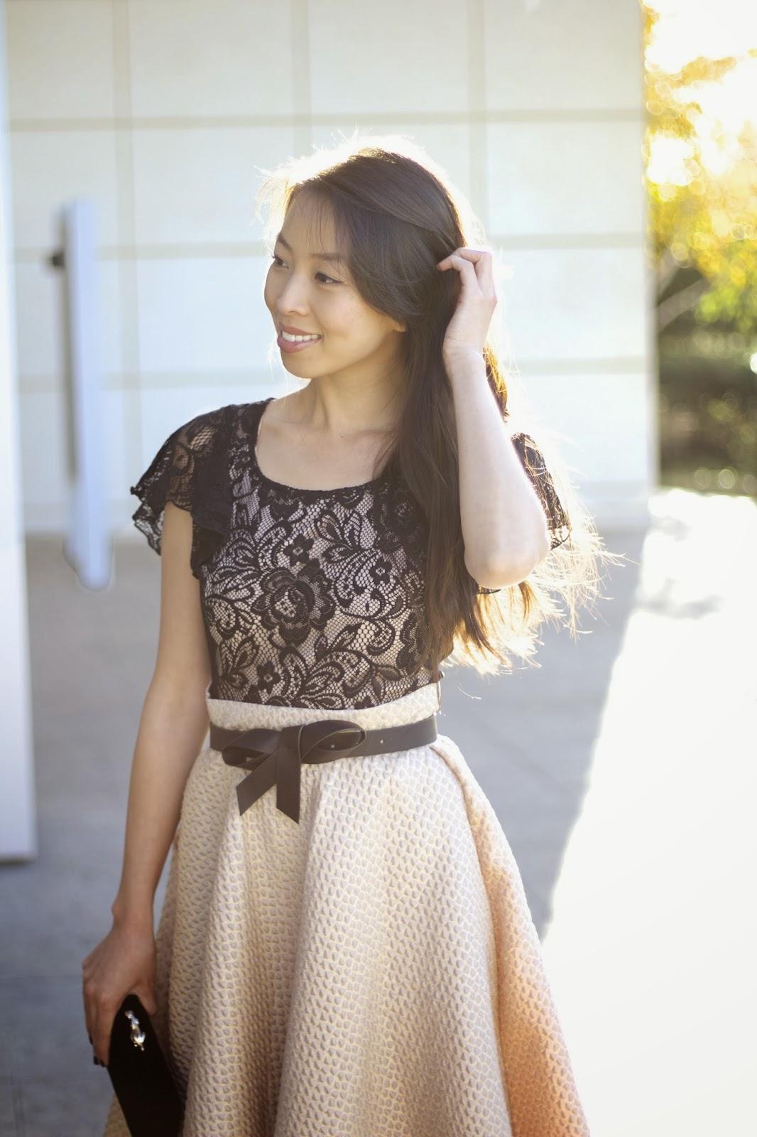 586113b791 Connnietang: Lulu's Holiday Look: Gold Midi & Lace