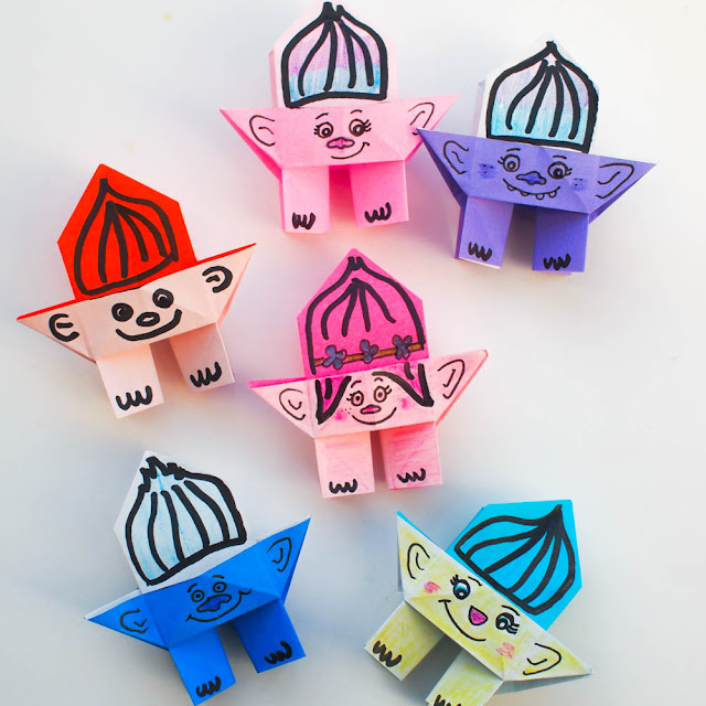 how to fold origami troll dolls - great activity for kids who enjoyed the Troll movie