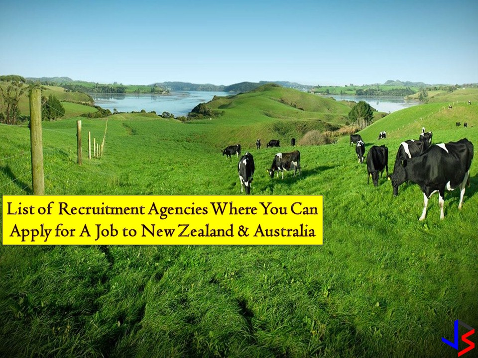 List of Recruitment Agencies Where You Can Apply for A Job to New Zealand and Australia  Australia and New Zealand are two countries offering good opportunities for Filipinos who want to work abroad. Big salary, good working conditions, health and work insurance are only a few of privileges OFW may get while working in these countries. So if you are looking for a recruitment agency where you can apply for a work, check out the following. All information is taken from the website of the Philippine Overseas Employment Administration (POEA)!  The following are recruitment agencies hiring for AUSTRALIA and their job orders for this month of July 2018.  BISON MANAGEMENT CORPORATION  Landbased Agency GF,2F&3F(LW) BMH CTR 3963 YAGUE ST STA CRUZ MAKATI Tel No/s : 8964667/758-1159 TO 64  Email Address: info@bisonph.com Website: www.bisonjobs.com Official Representative: BELEN M ALHUMAYED Status: Valid License License Validity: 12/20/2014 to 12/19/2018  Job Order and No. of Vacancy Meat Inspector — 54 Dairy Farmer — 1  PRINCIPALIA MANAGEMENT & PERSONNEL CONSULTANTS, INC.  Landbased Agency UNITS 701&702, 7/F, ALEXANDER HOUSE, CONDOMINIUM B LEGASPI VILLAGE, MAKATI Tel No/s : 815-1077  Email Address : info@principalia.com/ admin@principalia.com Website: www.principalia.com Official Representative: LUCAS FELIX M. BRITANICO Status: Valid License License Validity: 4/2/2016 to 4/1/2020  Job Order and No. of Vacancy Panel Beater — 82 CNC Machinist — 10 Mechanic — 9 Spray Painter — 20   QRD INTERNATIONAL PLACEMENT INC Landbased Agency U201&202 (2F) & UNIT 705 (7F) FSS BLG II 18 SCT TU LAGING HANDA, QUEZON CITY Tel No/s : (02) 375-1144/ 709-7772 / 09088946124 Email Address: info@quantumgroup-ph.com Website: qrdinternational.com Official Representative: GERARD B SANVICTORES Status: Valid License License Validity: 11/6/2015 to 11/6/2019  Job Order and No. of Vacancy Chef — 20 Wall and Floor Tiler — 10 Cook — 10 Metal Fabricator — 50 Mechanic — 50 Automotive Technician — 15  SGS HUMAN RESOURCES CORPORATION  Landbased Agency S 504-505 PASDA MANSIONS, 77 PANAY COR TIMOG QUEZON CITY Tel No/s : 4108446 / 3326015 / 3718142 / 3762956  Email Address: inquiry@sgshumanresources.com Website: www.sgshumanresources.com Official Representative: FLOR PALCES-AUGUSTIN Status: Valid License License Validity: 2/7/2016 to 2/6/2020  Job Order and No. of Vacancy Carpenter — 9 Glaziers — 9  H.M.O. INTERNATIONAL HUMAN RESOURCES Landbased Agency U-118A/B&117 LUZ HENSON BLDG 494 SOLDADO ST MLA ERMITA, MANILA Tel No/s : 4002757 / 5228714  Email Address: hmocoverage728@gmail.com Website: www.hmoihr.com Official Representative: TESSIE B MANATAD Status: Valid License License Validity: 7/29/2014 to 7/28/2018  Job Order and No. of Vacancy Fabricator — 15  HUMAN AGGREGATES PHILS, INC Landbased Agency RM1106 PEARL OF THE ORIENTTOWERS,1240 R.BLVD,MLA. ERMITA, MANILA Tel No/s : 524-0290/ 353-1490/ 353-3807 / 09152414372  Email Address : admin@hapi.com.ph/  om@hapi.com.ph Website : www.hapi.com.ph Official Representative : SUSAN S YALONG Status : Valid License License Validity : 3/7/2016 to 3/6/2020  Job Order and No. of Vacancy Panel Beater — 20  CAVES TREASURES MANPOWER & CONSTRUCTION CORPORATION  Landbased Agency UNIT A31,3F, ZETA II BLDG, 191 SALCEDO ST LEGASPI VILLAGE, MAKATI Tel No/s : 8134862/ 8137290/ 0908-8629352  Email Address: apply@cavesmanpower.com Website: www.cavesmanpower.com Official Representative: ELPIDIO A. CONTRERAS Status: Valid License License Validity: 8/10/2014 to 8/9/2018  Job Order and No. of Vacancy Beater Panel — 1 Automotive Electrician — 5 Diesel Mechanic — 10 Motor General Mechanic — 9 Vehicle Painter — 1  MULTI-ORIENT MANPOWER & MANAGEMENT SERVICES INC.  Landbased Agency GROUND FLOOR (LW), RECRAA I BLDG, VITALEZ COMPOUNT PARAÃ'AQUE Tel No/s : 8257956 LOC 57/8293629/820-1610  Email Address : momms.cv@gmail.com/ miles.momms@gmail.com Website : NA Official Representative : FLORA P OCAMPO Status : Valid License License Validity : 2/27/2016 to 2/26/2020  Job Order and No. of Vacancy Auto Electrician — 1  FEDERAL OVERSEAS MANPOWER INC (FORMERLY LAVANDER INTERNATIONAL MANPOWER SER Landbased Agency 3RD FLOOR, BROFAR BLDG., 7493 BAGTIKAN STREET SAN ANTONIO VILLAGE, MAKATI Tel No/s : 586-2989/ 833-4744  Email Address: federaloverseas13@yahoo.com Website: None Official Representative: FENNDHRA O MAIDIN Status: Valid License License Validity: 9/26/2015 to 9/25/2019  Job Order and No. of Vacancy Metal Machinist — 10  _____________________________________________ SEPTEMBER STAR INCORPORATED  Landbased Agency RMS1,2&3,3F, ANDRICH BLG,2078 EDISON COR GIL PUYAT MAKATI Tel No/s : 8872769/ 8442534/ 09189073903  Email Address : septemberstar@yahoo.com.ph Website : www.septemberstarinc.com Official Representative : JOSE RENATO C. MASONSONG Status : Valid License License Validity : 4/5/2016 to 4/4/2020  Job Order and No. of Vacancy Trade Assistant — 30 Carpenter — 48 Hand Hammer —50 Glass Processor — 20 Scaffolder —17 Steel Fixer —27 Brick Layer—30 Joiner Carpenter —28 Concretor—30 Metal Sheet Fabricator—30 Glaziers—20 Heating and Aircon Mechanic—30 Processor—20 Welder—25 Truck Driver — 20 Diesel Mechanic — 20  ANGELEX ALLIED AGENCY  Landbased Agency RM 115 AURORA PLAZA BLDG II 537 P FAURA ERMITA MLA ERMITA, MANILA Tel No/s : 5226170 / 4004645  Email Address : angelex_tg@yahoo.com  Website : None Official Representative : MA THERESA A GALANG Status : Valid License License Validity : 2/19/2016 to 2/18/2020   Job Orders and No. of Vacancy Door Technician — 1  AL AXA INT'L MANPOWER SERVICES INC Landbased Agency RMS 504, 505 & 506 5/F JALANDONI BLDG 1444 A MABIN ERMITA, MANILA Tel No/s : 2427173  Email Address : alaxaintl@yahoo.com Website : None Official Representative : ALEXANDER D FERNANDEZ Status : Valid License License Validity : 9/5/2017 to 9/5/2019  Job Orders and No. of Vacancy Saw Doctor — 4 Metal Fitter — 10 Sawmill Operator—4 Mechanical Technician—4 Engineering—10  STAFFHOUSE INTERNATIONAL RESOURCES CORPORATION (FORMERLY STAFFHOUSE RESOURC  Landbased Agency NO. 43 WESTPOINT STREET, CUBAO QUEZON CITY Tel No/s : 4371234  Email Address : info@staffhouse.com Website : www.staffhouse.com Official Representative : MARC R CAPISTRANO Status : Valid License License Validity : 7/13/2015 to 7/12/2019  Job Orders and No. of Vacancy Lift Operator — 30  FMW HUMAN RESOURCES INTERNATIONAL CORP (FOR: FMW HUMAN RESOURCES INT'L.) Landbased Agency 304&305 PARC HSE II CONDO NO 21 EDSA GUADALUPE NUEVO, MAKATI Tel No/s : 8824509/ 8810643/ 8817886  Email Address : fmwhri@pacific.net.ph Website : www.fmwhri.8m.com Official Representative : FRANCISCO S AGUILAR JR Status : Valid License License Validity : 3/24/2015 to 3/23/2019  Job Orders and No. of Vacancy Assistant Dairy Farm — 146  CENTURY PROMOTIONS & MANPOWER SERVICES, INC.  Landbased Agency 31 ANTOINETTE ST,PARKWAY VILL, BGY A.SAMSON, SFDM QUEZON CITY Tel No/s : 413-4381/ 0998-4688097 (mobile)  Email Address: cpamsinc@gmail.com Website: NA Official Representative: GEMMA A MERCADO Status: Valid License License Validity: 2/23/2016 to 2/22/2020  Job Order and No. of Vacancies Trailer Truck Driver — 3 Truck Driver — 7  UNIPLAN OVERSEAS EMPLOYMENT INC (MHM OVERSEAS EMPLOY`T AGENCY CORP)  Landbased Agency GROUND FLOOR & SECOND FLOOR, NO.302 J.P. RIZAL ST. QUEZON CITY Tel No/s : 4118972 / 9118548 / 09175588832 / 09175588834  Email Address: uniplan.agency@gmail.com Website: www.uniplanoverseas.com Official Representative: ELNORA M VILLAFAÃ'A Status: Valid License License Validity: 1/23/2016 to 1/22/2020  Job Order and No. of Vacancies Assistant Maintenance Engineer — 10 Pipefitter — 5 Plumber —15  MEDLINK INTERNATIONAL RESOURCING INCORPORATED (FOR: ORION SITE MEDLINK ) Landbased Agency U-401&404, RAMAN COND, 1130 PASONG TAMO MAKATI Tel No/s : 5521418  Email Address: apply@medlink.ph Website: www.orionsitemedlink.com Official Representative: JOAN NINA OSENA-BARRETTO Status: Valid License License Validity: 1/18/2017 to 1/17/2021  Job Order and No. of Vacancy Fabricator —20 Hand Hammer —16 Machine Operator — 20