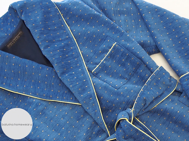 blue navy gold chenille cotton robe luxury long dressing gown fine dots polka dotted piping