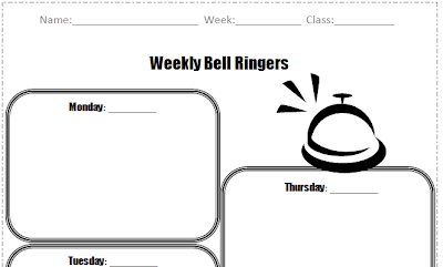 Bell work is a great classroom management tool because it gets your students focused and on task when they walk into the room. This bell work organizer is a great way to keep all those assessments easily organized. Read this blog post from 2 Peas and a Dog.