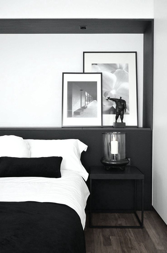 Black and white contemporary bedroom design by 0932 Design Consultants