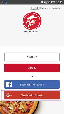cara login di aplikasi Pizza Hut Indonesia