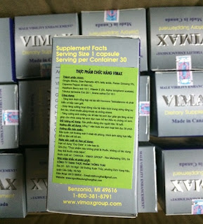 Mặt sau hộp Vimax Pills
