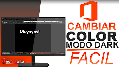 cambiar el color de microsoft office, poner color oscuro a office.