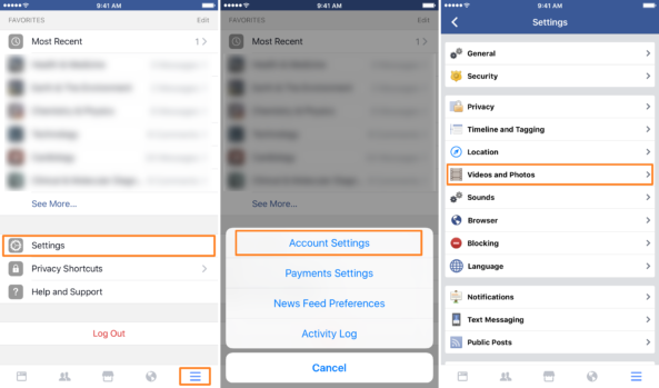 Facebook Hücresel Veri ayarları