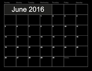 Printable June 2016 monthly calendar
