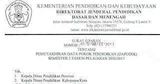 Surat Edaran Pemutakhiran DAPODIK Semester 2 Tahun 2016/2017